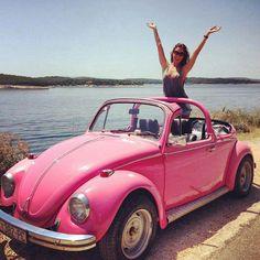 Pink retro car <3