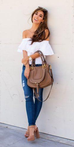Buciki, spodnie, torebka oraz bluzka