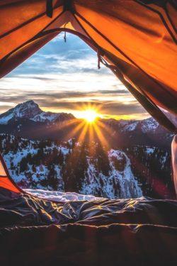 Wschody słońca, góry, natura