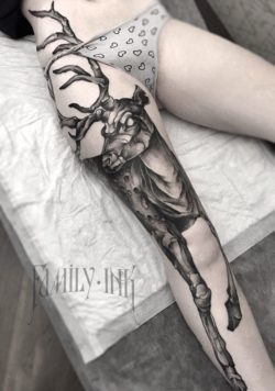 Tatuaże, kobieta, udo