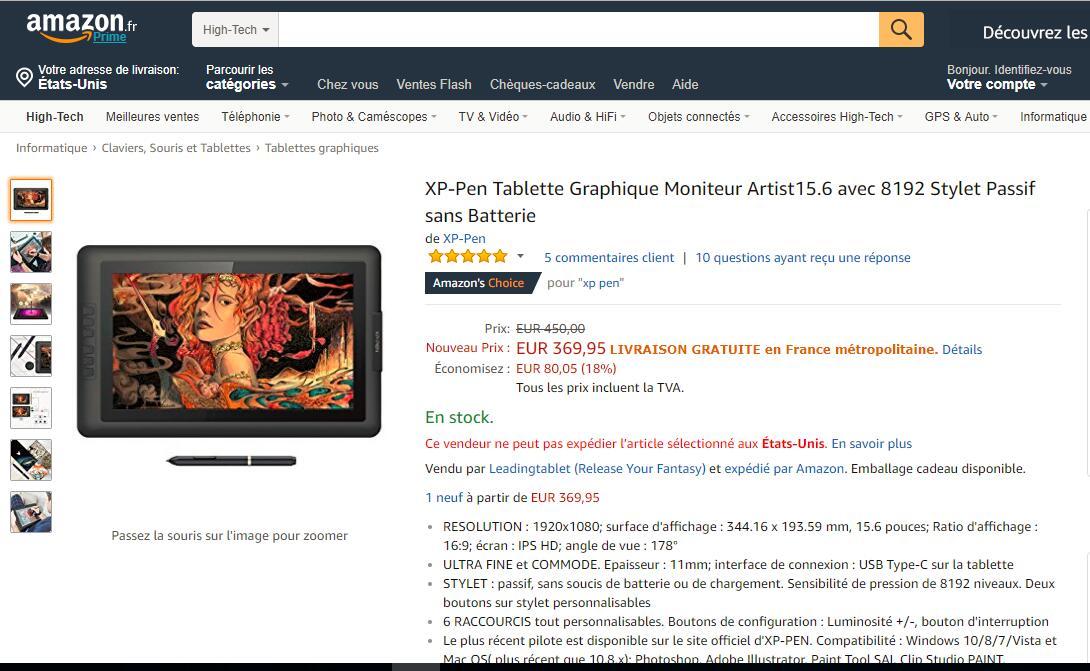 https://www.amazon.fr/XP-Pen-Tablette-Graphique-Moniteur-Artist15-6/dp/B0785682VP   XP-Pen Tablette Graphique Moniteur Artist15.6 avec 8192 Stylet Passif sans Batterie