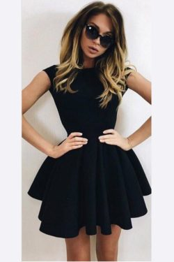 Cute A-Line Homecoming Dresses,Black Ball Gown Backless Short Prom Dresses 2017 HCD29 https://www.ombreprom.com/collections/cheap-homecoming-dresses
