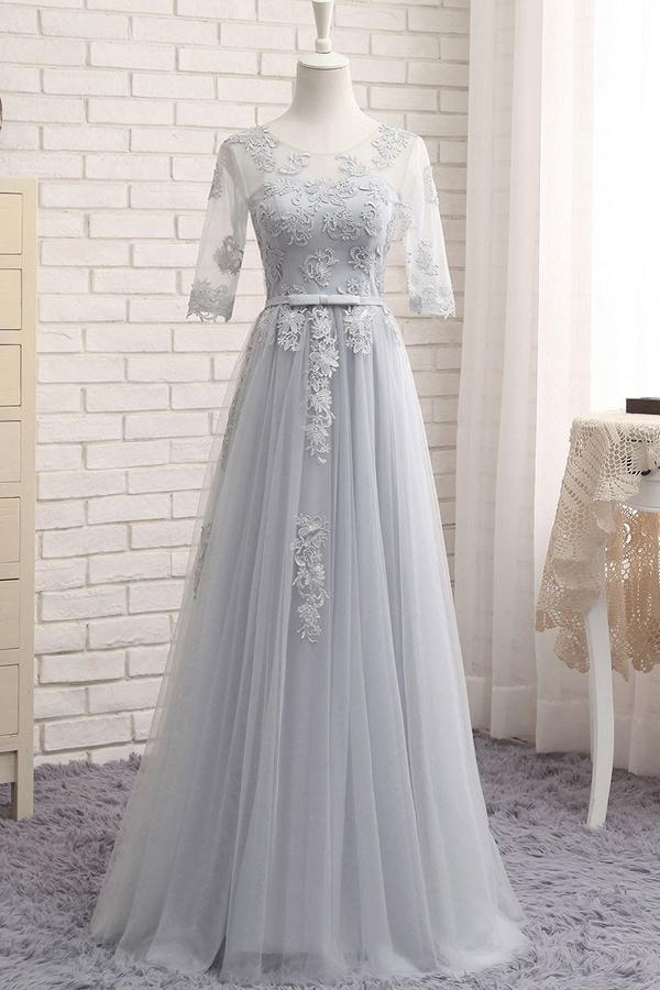 Gray A Line Sheer Neck Half Sleeve Appliques Cheap Bridesmaid Dresses B252 – https://www.ombreprom.com/collections/bridesmaid-dresses