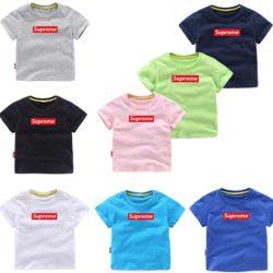 Supreme 子供服 Tシャツ 短袖 夏着 ベビーパジャマ 普段着 シュプリーム子供ジャージ 短袖 キッズ 子供服