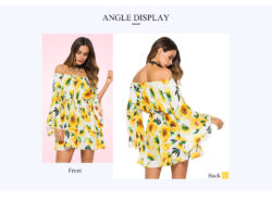 Dropshipping for Off The Shoulder Long Bell Sleeve Floral Print Tied Women Mini Dress to sell online at wholesale price